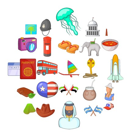 Around the world icons set. Cartoon set of 25 around the world vector icons for web isolated on white background 版權商用圖片 - 124755599