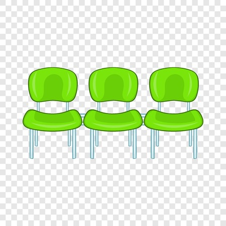 Green airport seats icon in cartoon style on a background for any web design Vettoriali