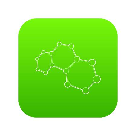 Molecules icon green vector isolated on white background