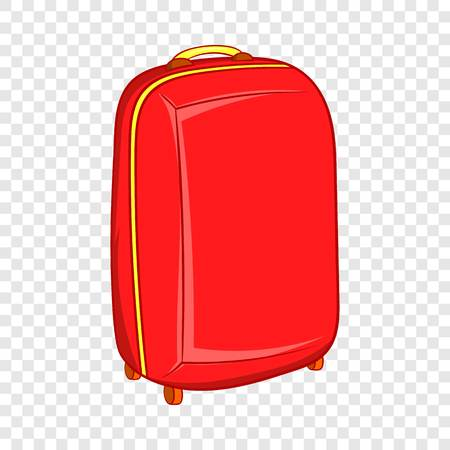 Red travel suitcase icon in cartoon style on a background for any web design