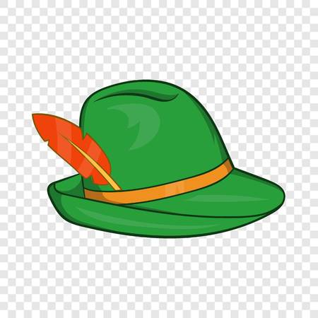 Green hat with a feather icon in cartoon style on a background for any web design