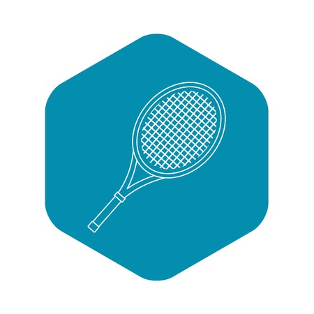 Tennis racket icon. Outline illustration of tennis racket vector icon for web