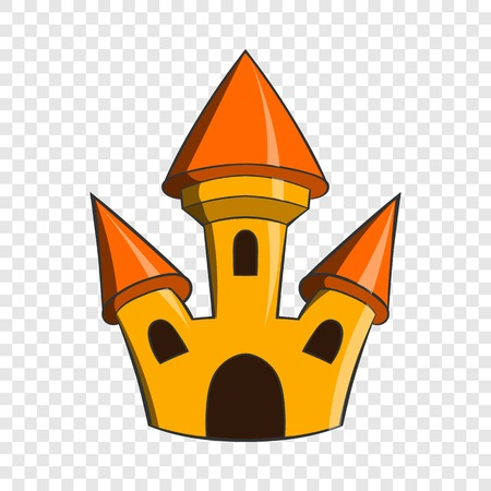 Castle icon in cartoon style on a background for any web design