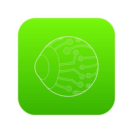 Cyber eyes icon green vector isolated on white background Illustration