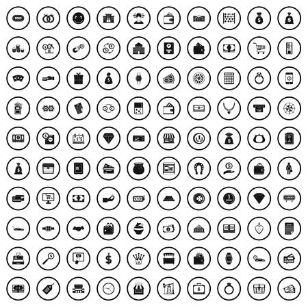 100 money icons set in simple style for any design vector illustration 向量圖像