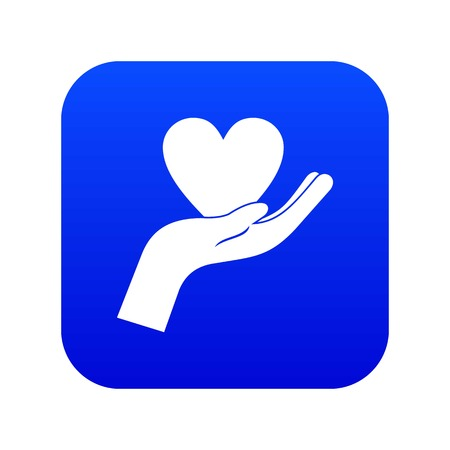 Hand holding heart icon digital blue for any design isolated on white vector illustration