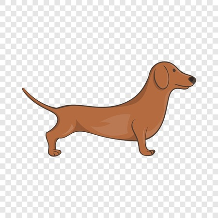 Brown dachshund dog icon in cartoon style on a background for any web design  Illustration