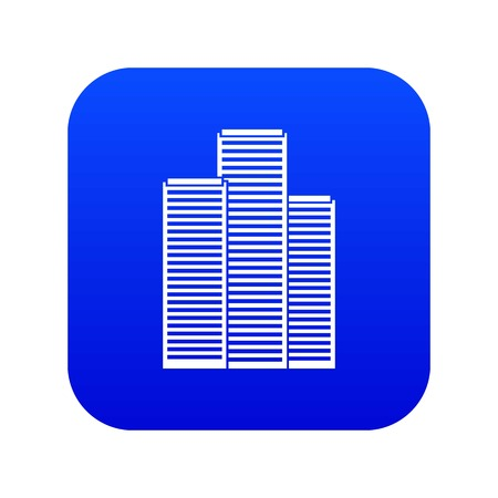 Skyscrapers in Singapore icon digital blue for any design isolated on white vector illustration
