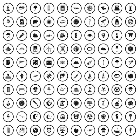 100 moon icons set in simple style for any design vector illustration
