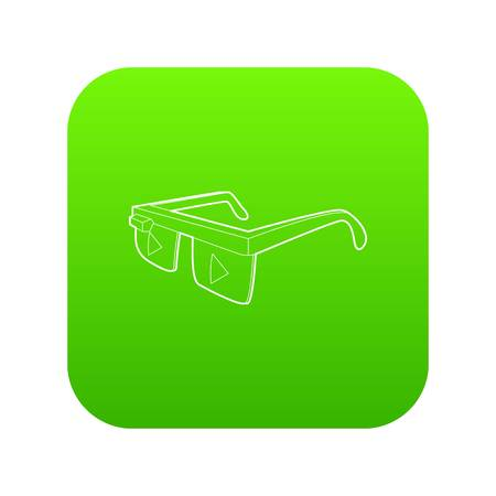 Smart glasses icon green vector isolated on white background