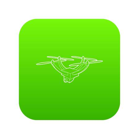 Drone with camera icon green vector isolated on white background Stock Illustratie
