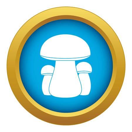 Mushroom icon blue vector isolated