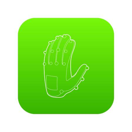 Electronic glove icon green vector isolated on white background Illustration