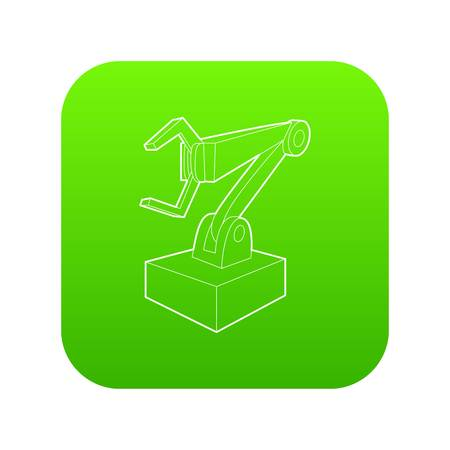 Robotic arm icon green vector isolated on white background Ilustrace