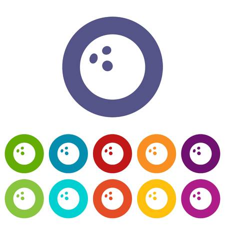 Bowling ball icons color set vector for any web design on white background