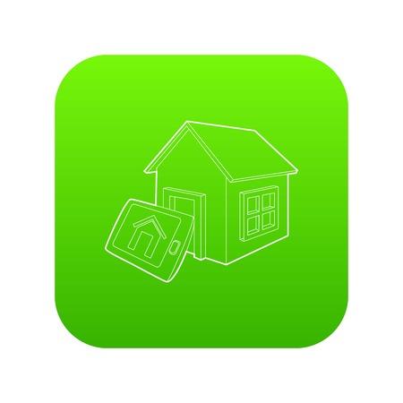 Smart home icon green vector
