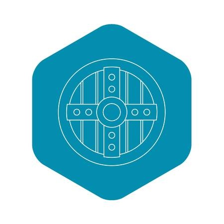 Round protective shield icon. Outline illustration of round protective shield vector icon for web