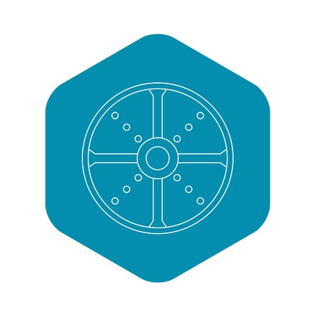 Round shield icon. Outline illustration of round shield vector icon for web