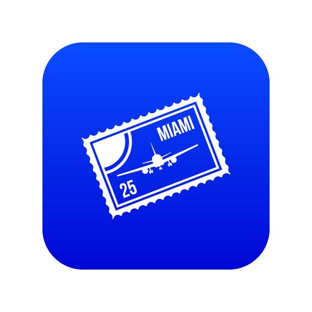 Stamp with plane and text Miami inside icon digital blue for any design isolated on white vector illustration