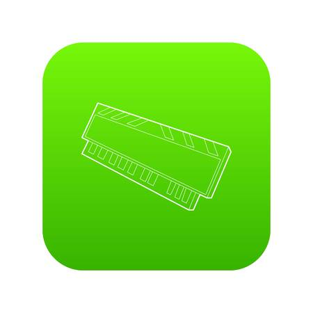 DVD RAM module for the personal computer icon green vector isolated on white background