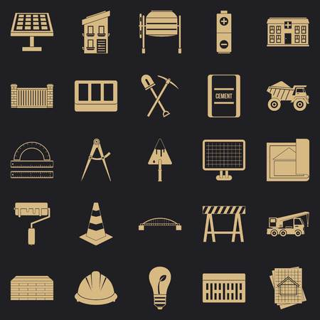 Excavations icons set. Simple set of 25 excavations vector icons for web for any design