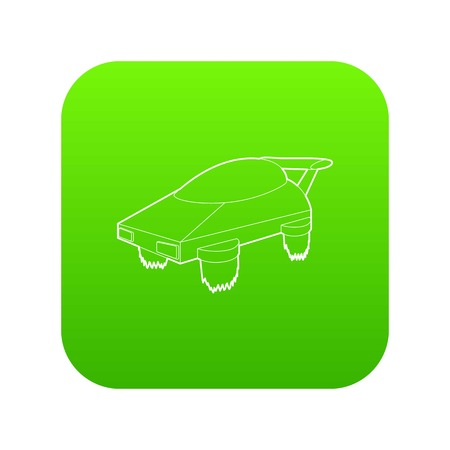Flying machine future icon green vector isolated on white background
