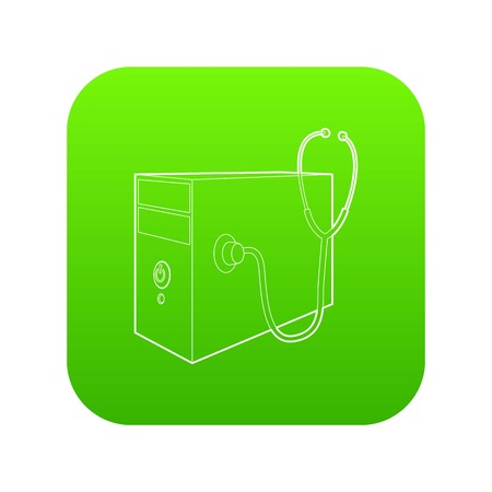 Computer system unit and stethoscope icon green vector isolated on white background 版權商用圖片 - 124755725