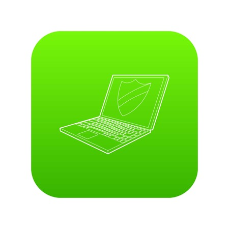Laptop with protection shield icon green vector isolated on white background