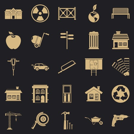 Earthwork icons set, simple style