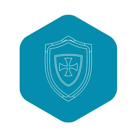 Shield with cross icon. Outline illustration of shield with cross vector icon for web