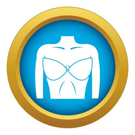 Female breast in a bra icon blue vector isolated