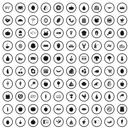 100 natural products icons set in simple style for any design vector illustration Stock Vector - 124755751