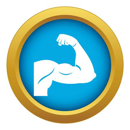 Biceps icon blue vector isolated on white background for any design Stock Illustratie