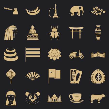 Mysteries of Asia icons set, simple style Illustration