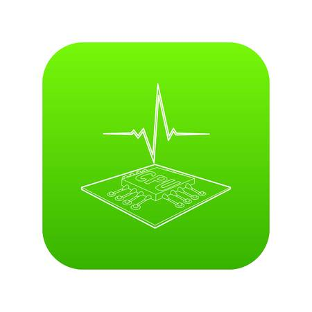 CPU with a heart beat icon green vector isolated on white background