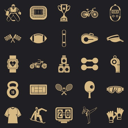 Strong man icons set. Simple set of 25 strong man vector icons for web for any design Illustration