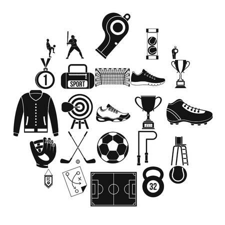Athlete icons set, simple style Foto de archivo - 118076246