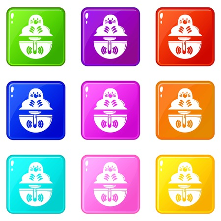 Mole icons set 9 color collection isolated on white for any design  イラスト・ベクター素材
