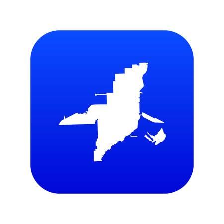 Florida map icon digital blue