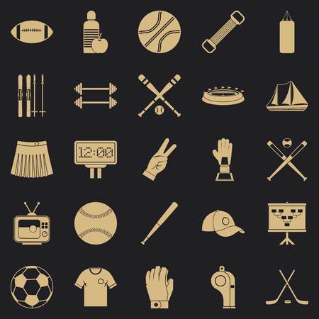 Trained person icons set, simple style