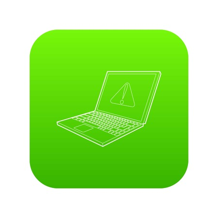 laptop with a warning signal icon green vector isolated on white background Illustration