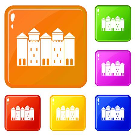 Old castle icons set vector color Illustration