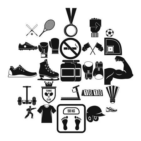 Sportsman icons set, simple style Foto de archivo - 118076377
