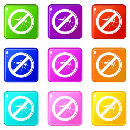 No mosquito icons set 9 color collection isolated on white for any design Ilustração