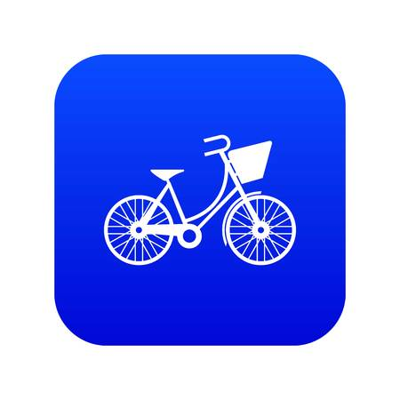 Bike with luggage icon digital blue for any design isolated on white vector illustration