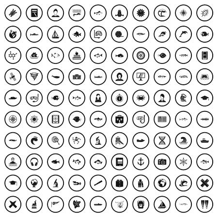 100 oceanologist icons set in simple style for any design vector illustration