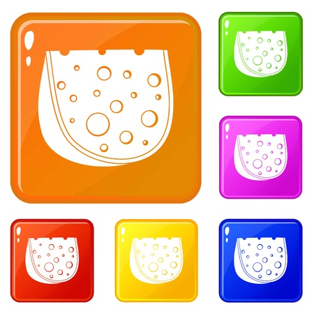 Cheese icons set vector color Çizim