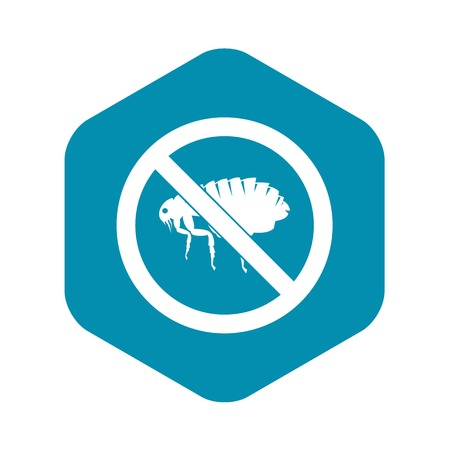 No flea sign icon in simple style isolated on white background