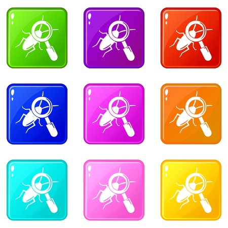 Search insect icons set 9 color collection isolated on white for any design