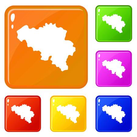Germany map icons set vector color Çizim